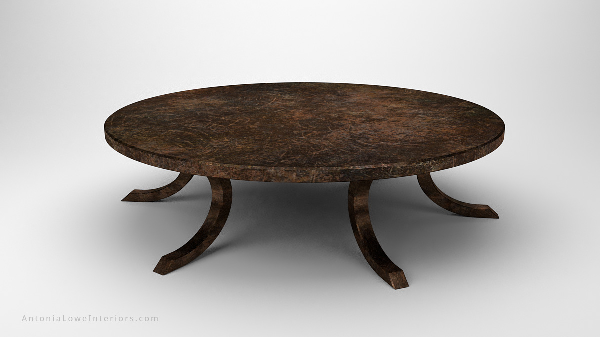 Antique Effect Round Steel Table large round antique effect steel table with curved legs