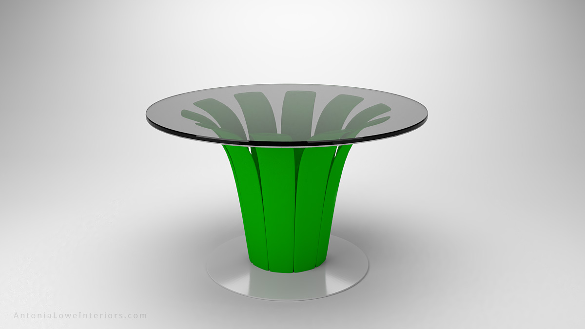 Vibrant Lime Green Palm Table white glossy base with lime green palm style supports to a clear glass table top
