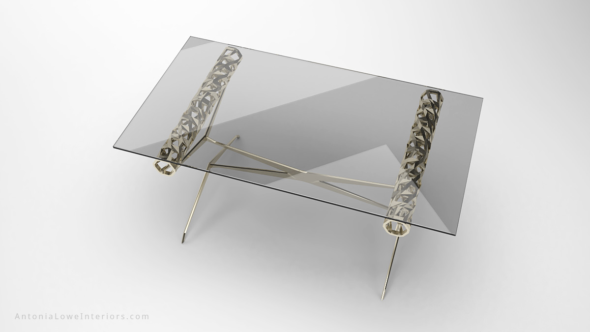Top view Contemporary Elegant Roll Top Lobby Table thin cross legged frame with a detailed cut out rolled top to support the clear rectangular glass table top
