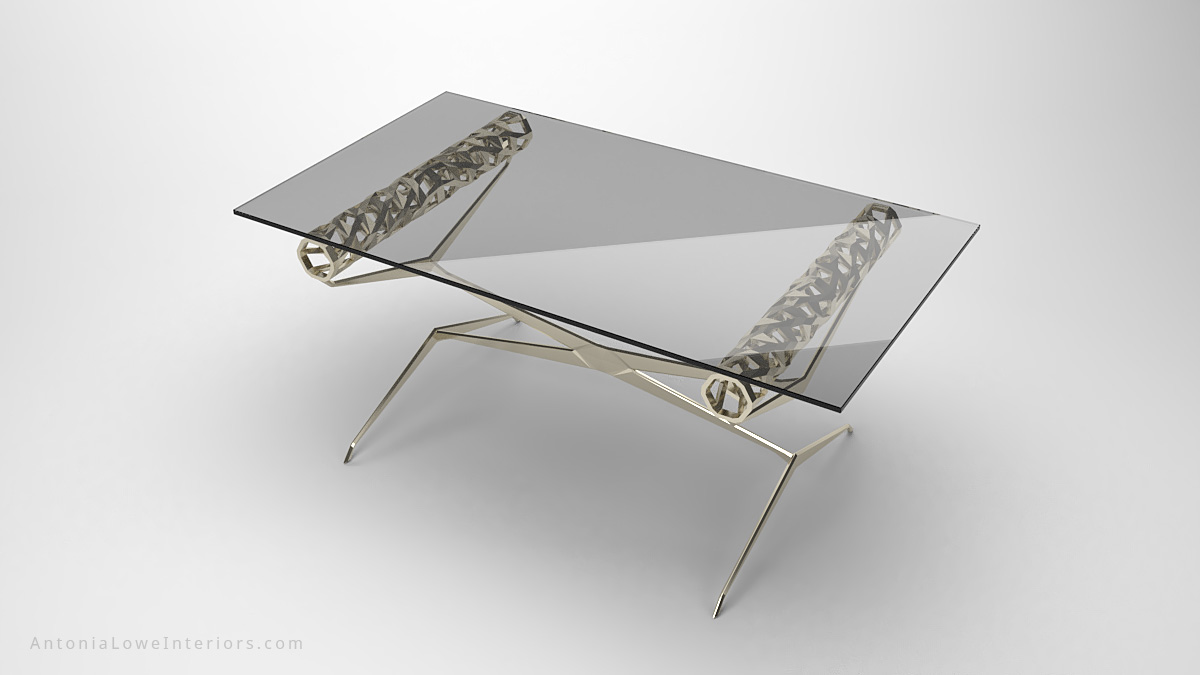 glass table top view. Contemporary Elegant Roll Top Lobby Table-9 Glass Table View