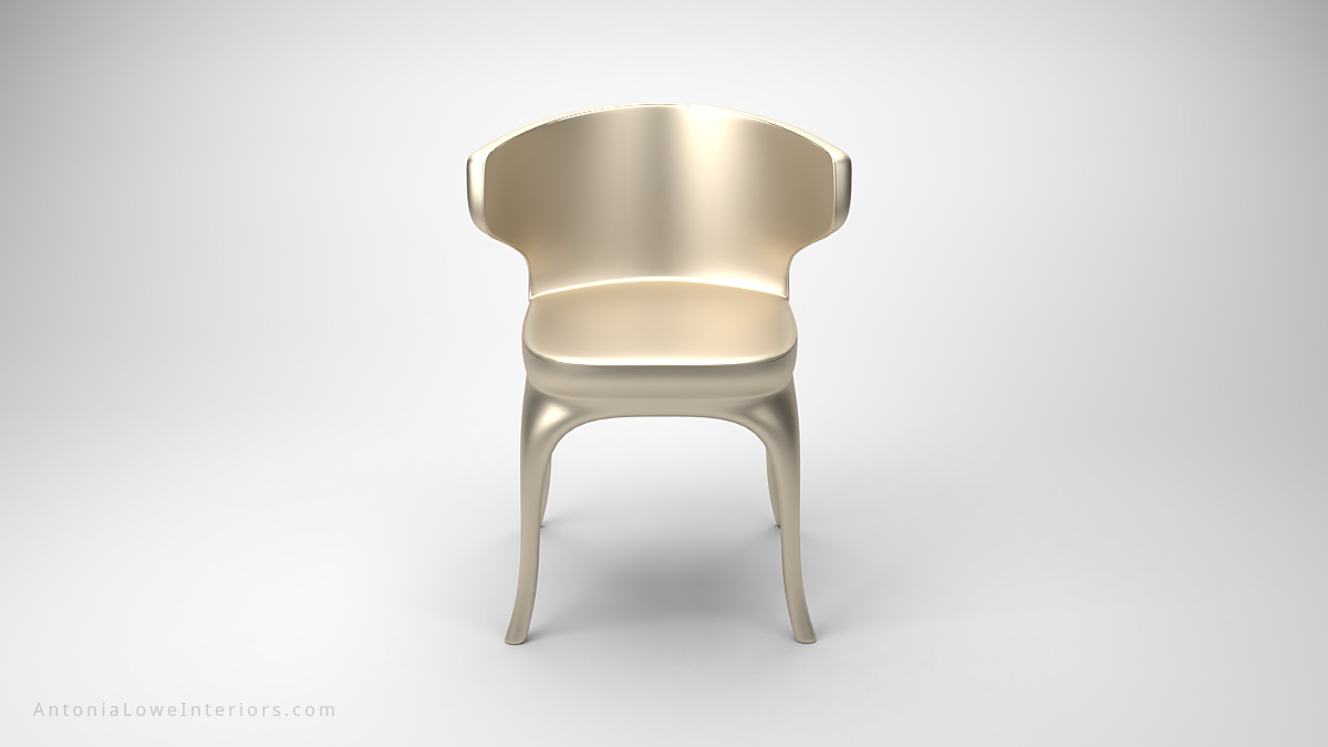 Front view Luxurious Champagne Satin Wrap Dining Chair curved dining chair elegantly wrapped in champagne coloured satin silk, curved back and legs