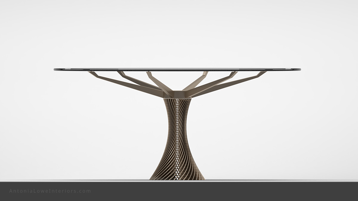 Front view Stunning Twist Column Round Table clear glass round table top held by a single central twisted stripe metal support that branches out at the top to hold the glass table top