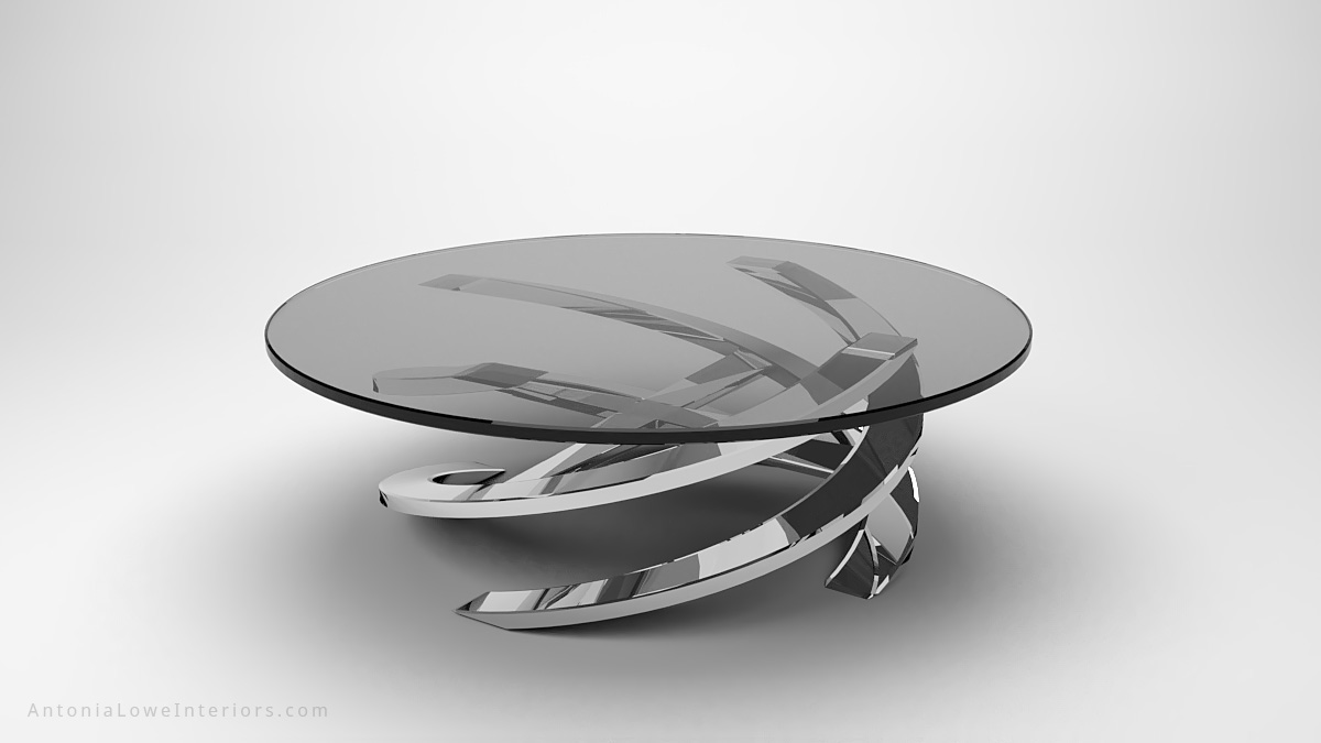 Sophisticated Glamorous Spiral Coffee Table round clear glass table top on a polished chrome swirling base