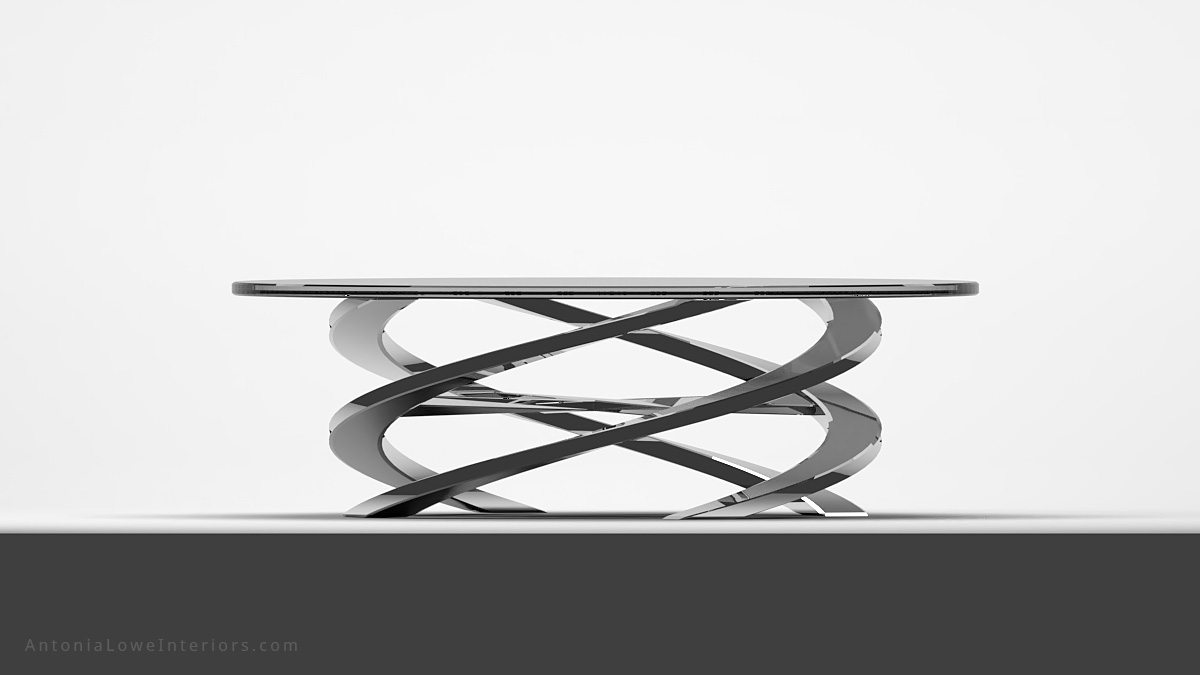 Front view Sophisticated Glamorous Spiral Coffee Table round clear glass table top on a polished chrome swirling base