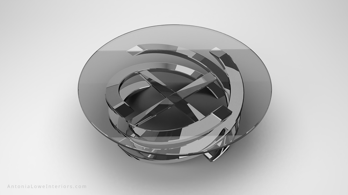 Top view Sophisticated Glamorous Spiral Coffee Table round clear glass table top on a polished chrome swirling base