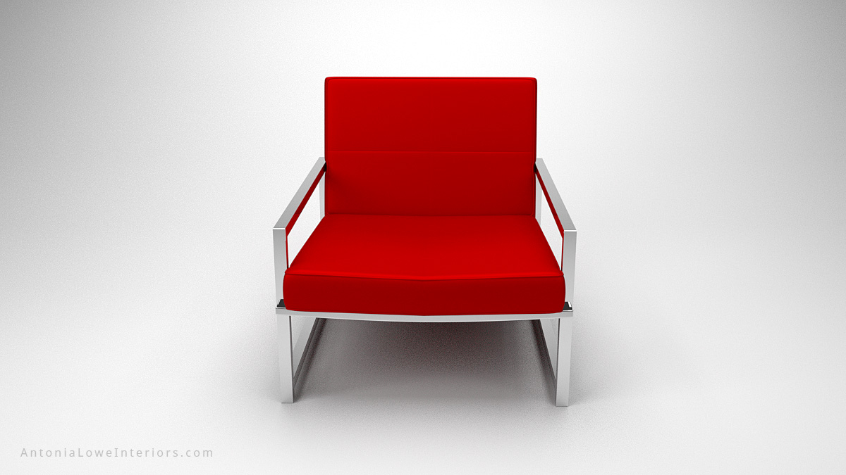 Trendy Red Square Lounge Chair red leather square chair on square polished chrome legs