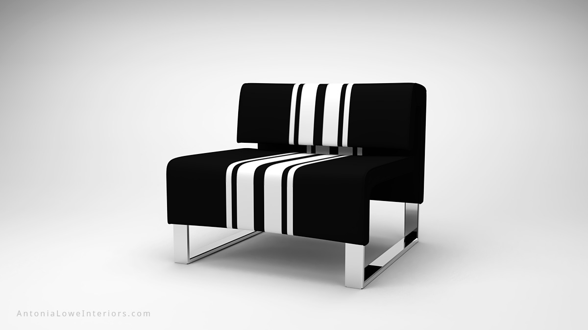 Classic Modern Sporty Contrast Lounge Chair black square lounge chair with white contrast stripes on a square polished chrome base