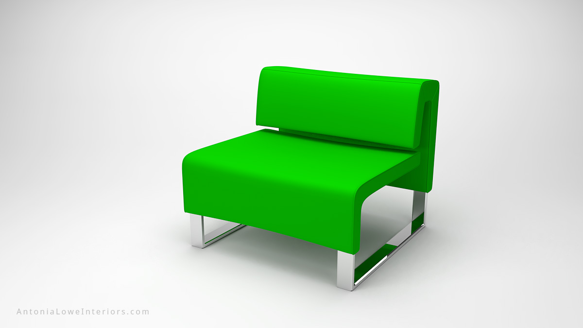 Classic Modern Lime Green Lounge Chair lime green square lounge chair on a square polished chrome base