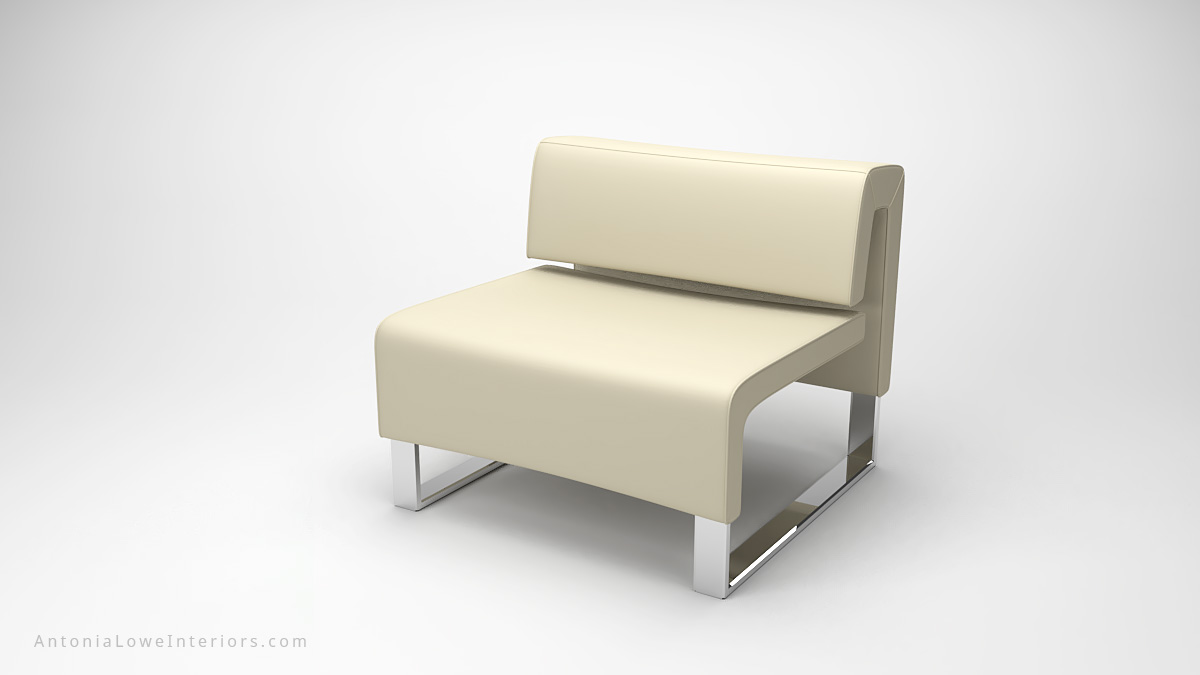 Classic Modern Timeless Lounge Chair white cream square lounge chair on a square polished chrome base