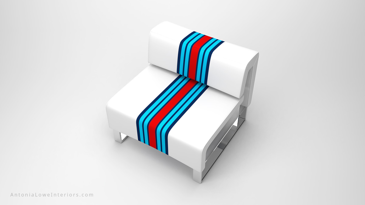Classic Modern Sporty Lounge Chair white square lounge chair with blue and red stripes on a square polished chrome base