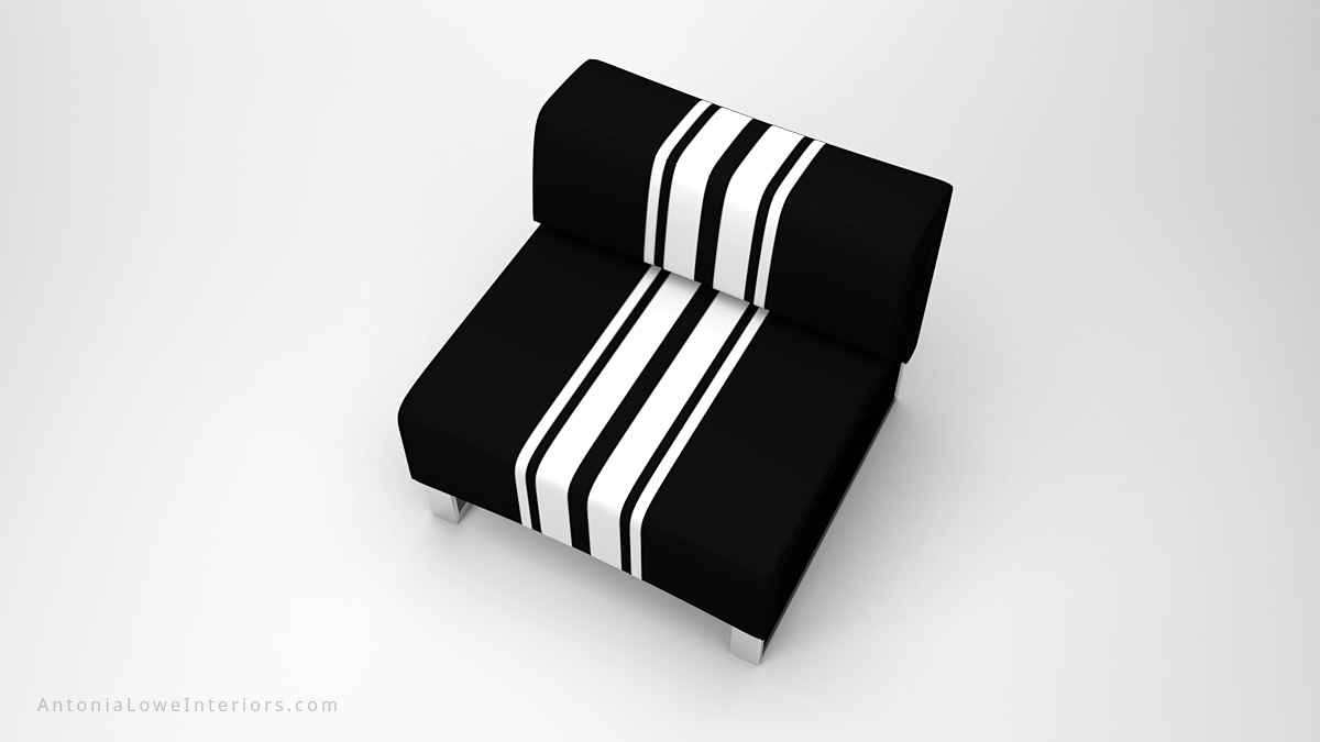 Top view Classic Modern Sporty Contrast Lounge Chair black square lounge chair with white contrast stripes on a square polished chrome base