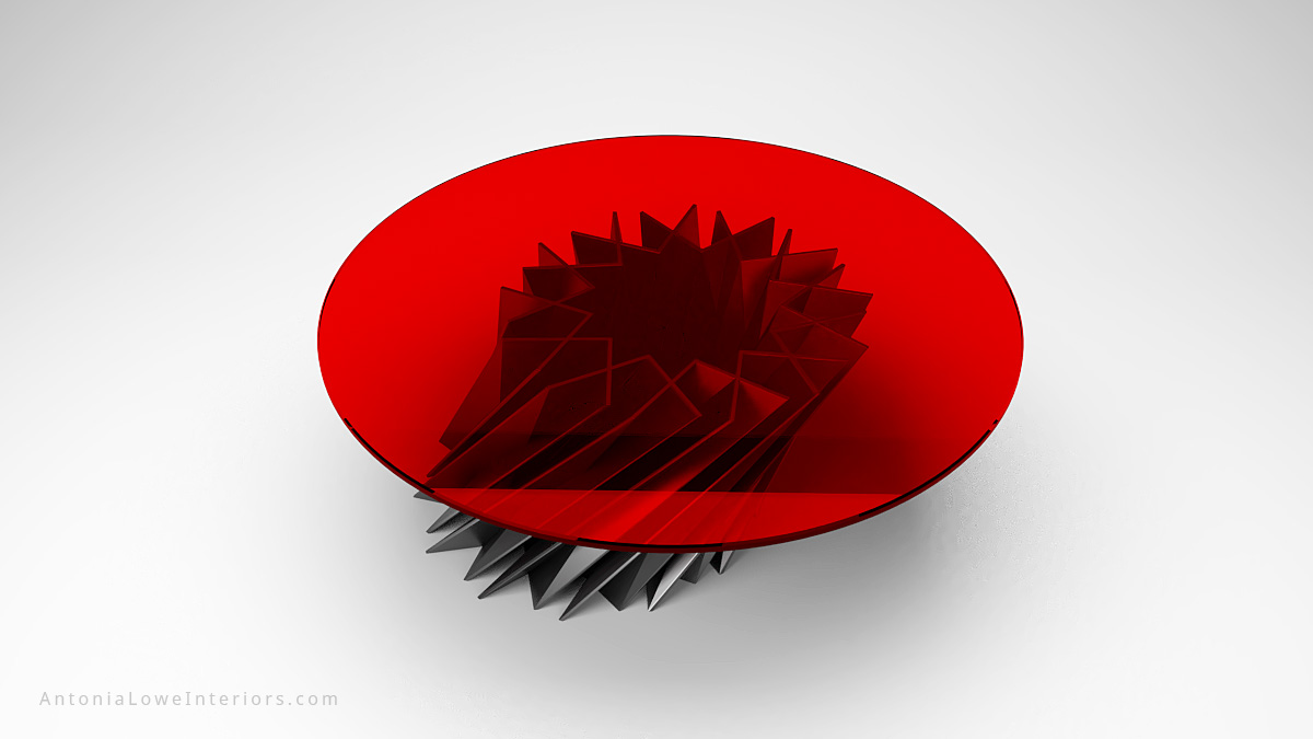 Top view Starstruck Edgy Red Round Table metallic angular edgy metal base with round red glass on the top