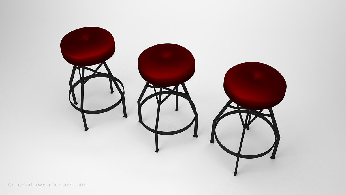 Sophisticated Steampunk Inspired Stools black frame legs and supports with padded round dark red seat cushion set of three