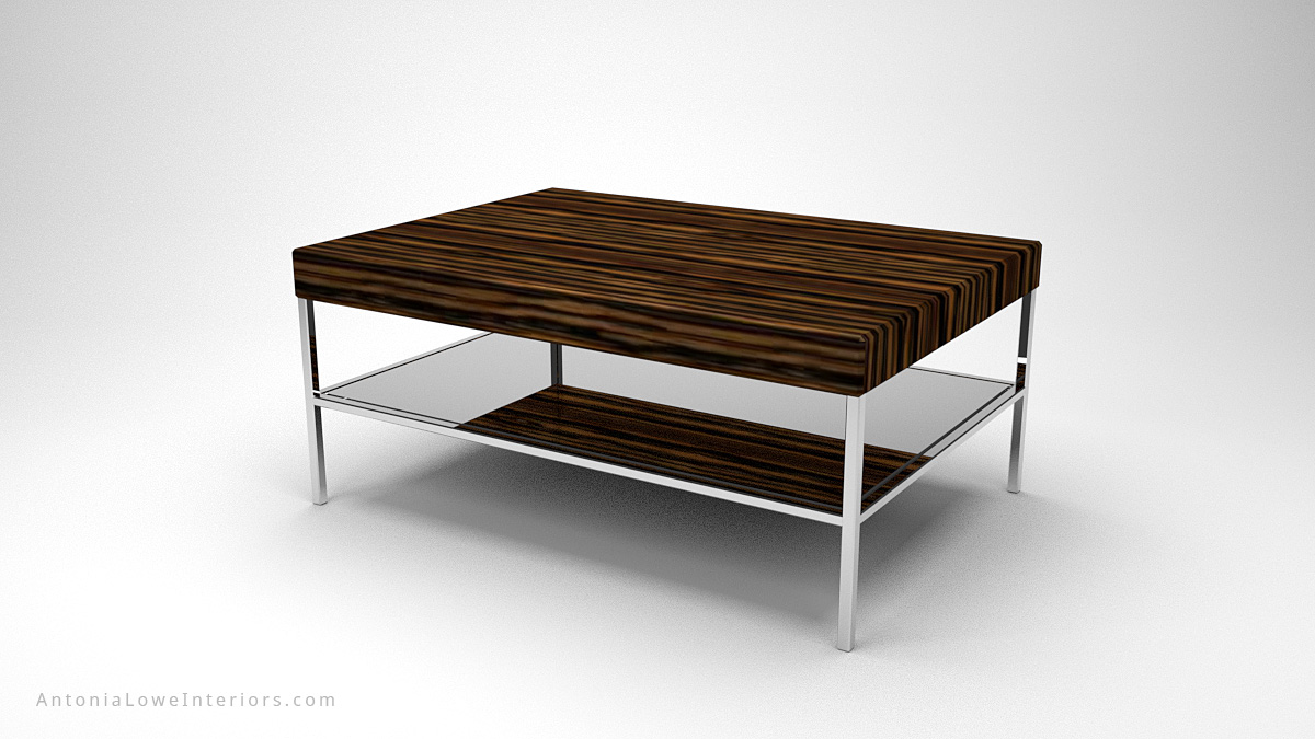 Contemporary Tiger Stripe Coffee Table tiger striped dark wood on a highly polished chrome base and legs