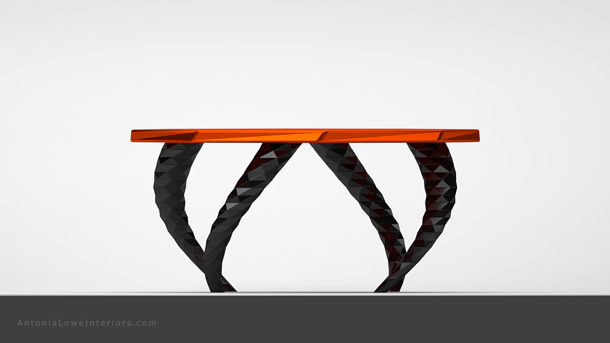 Front view Funky Vibrant Orange Twisted Leg Lobby Table orange octagonal table top on twisted dark metallic geometric legs