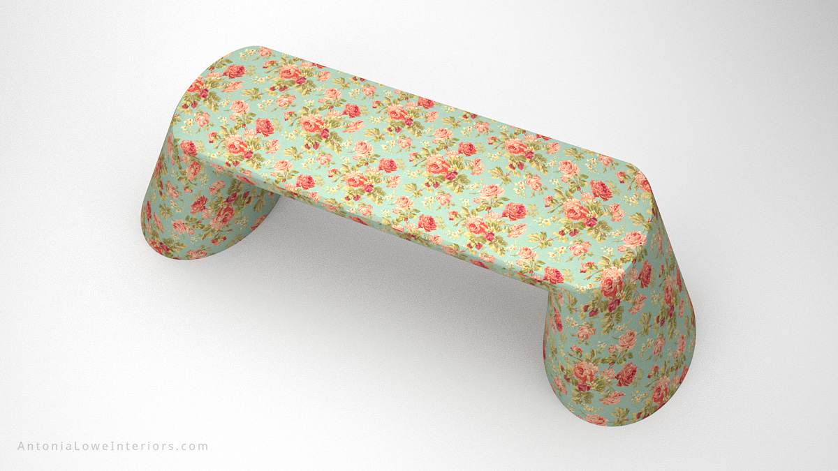 Top view Beautiful Vintage Rose Desk curved base desk with blue background and beautiful pink rose print covering