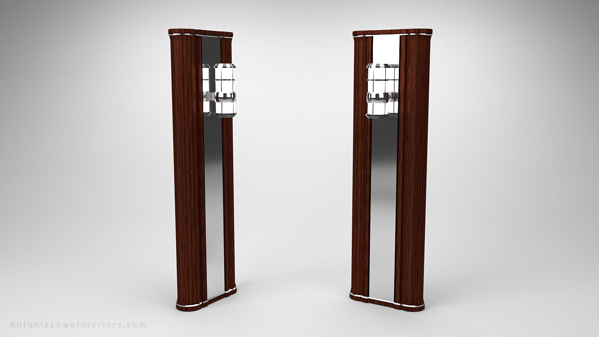Modern Art Deco Inspired Yacht Lighting Column dark wooden column with a central mirror and a chrome art deco inspired light at the top