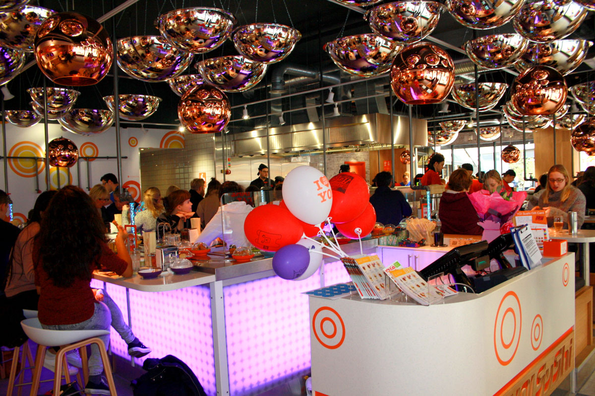 A beautiful Warwickshire town Leamington Spa Yo Sushi Restaurant Interior.