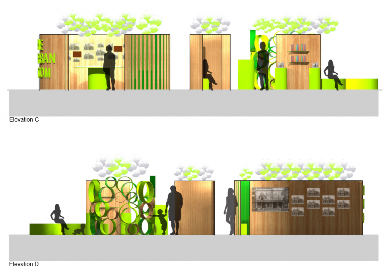 Colour Elevations and Sections of the Urban Room