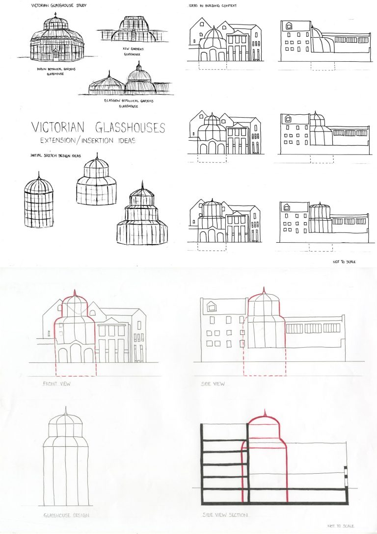 Victorian Glasshouses – Research for Extension / Insertion – Design Sketches