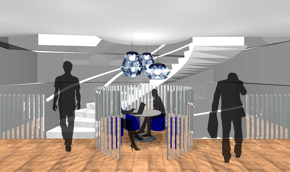 "Visual of the Central Stairway ""Informal Offices / Discussion Areas / Break Out Spaces"""