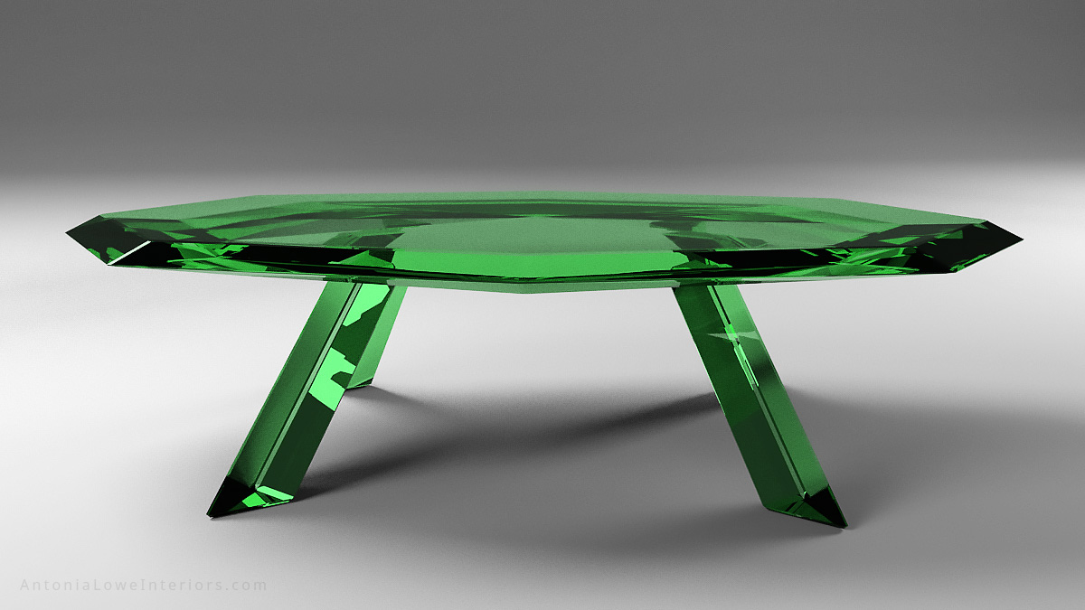 Front view Beautiful emerald crystal table is a glass faceted table that looks like emerald green crystal