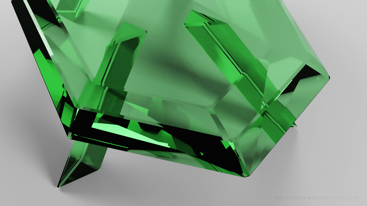 Close up view Beautiful emerald crystal table is a glass faceted table that looks like emerald green crystal