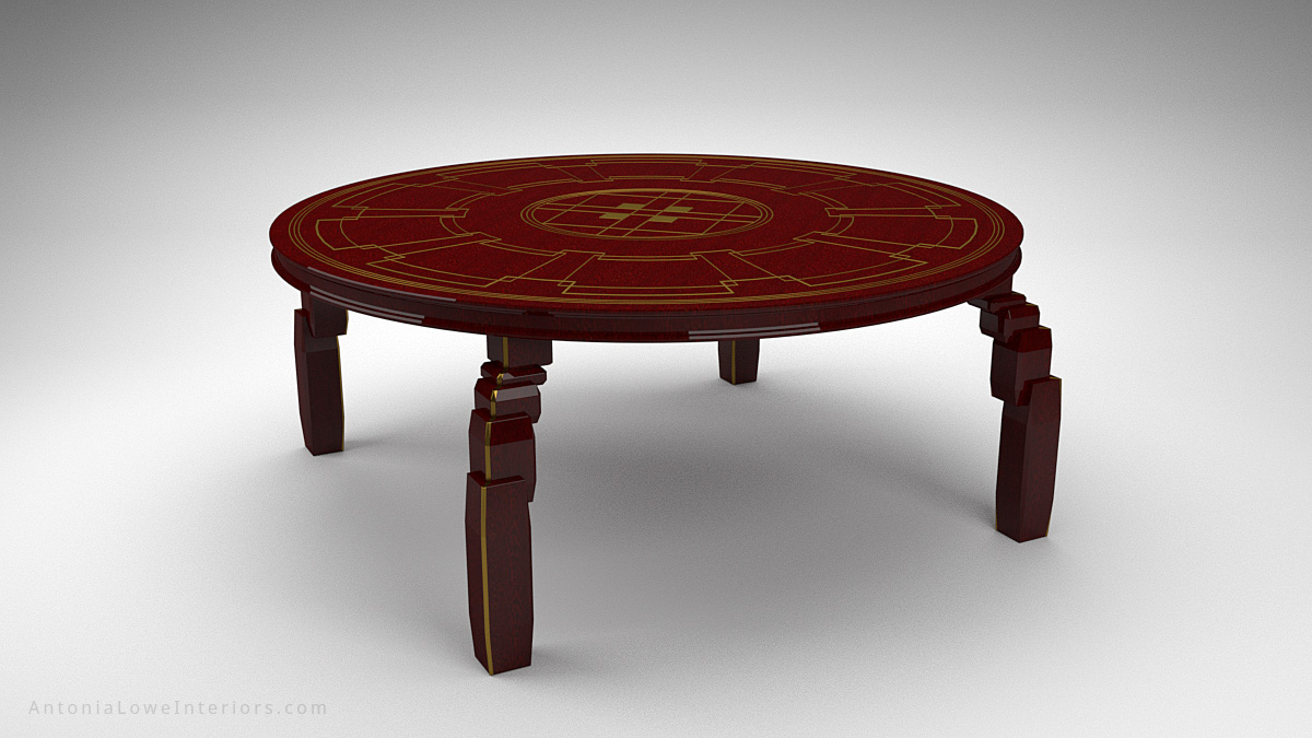 Art Deco Inspired Red Round Table made from beautifully varnished red wood with gold art deco inspired detailing on the table top and on the legs.