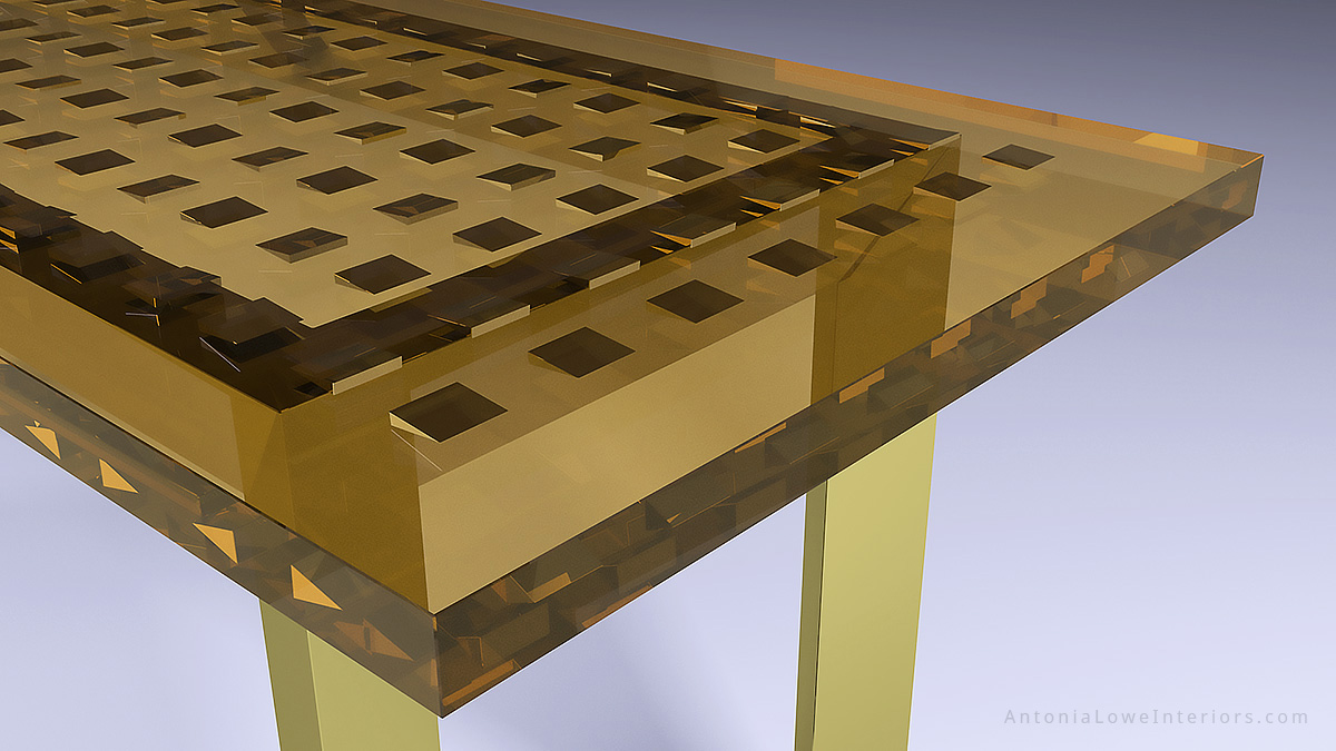 Close up view of an amazing gold table with a gold tinted clear resin top with solid gold wedges embedded inside