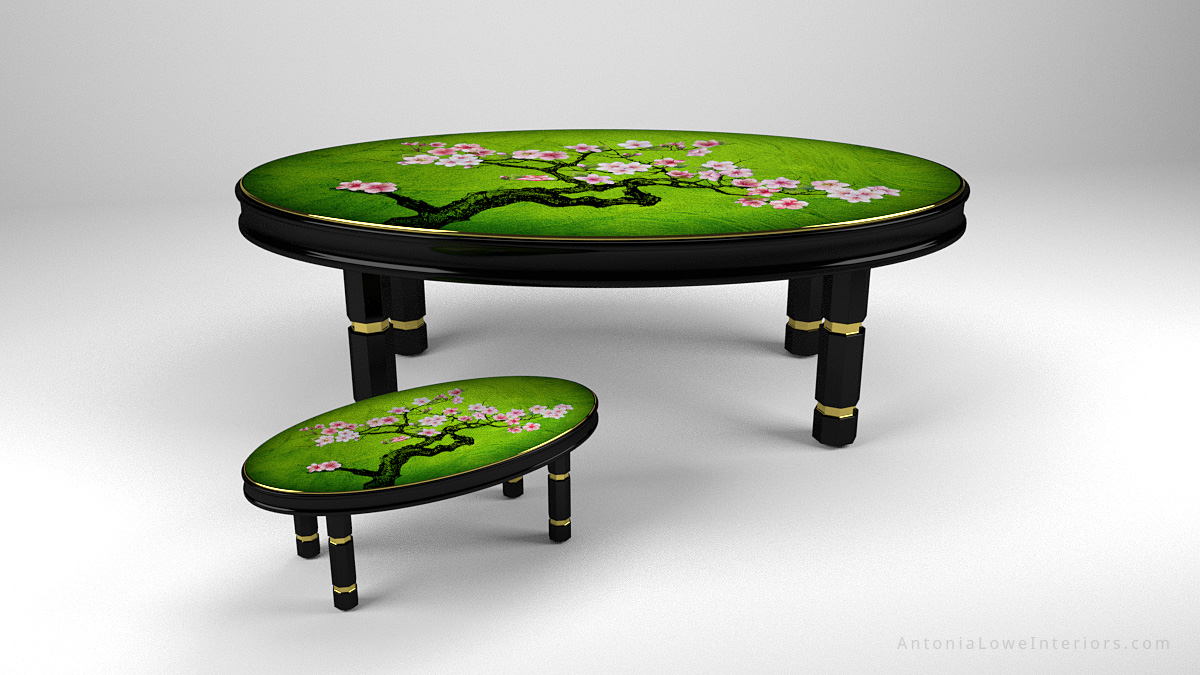 Side View Beautiful Japanese Feature Tables Banquet Table and Coffee Table, black lacquered cherry wood frame with gold trim and hand painted cherry blossoms painted on high gloss green lacquered table top.