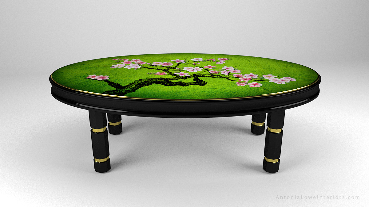 Front View Beautiful Japanese Feature Tables Banquet Table, black lacquered cherry wood frame with gold trim and hand painted cherry blossoms painted on high gloss green lacquered table top.