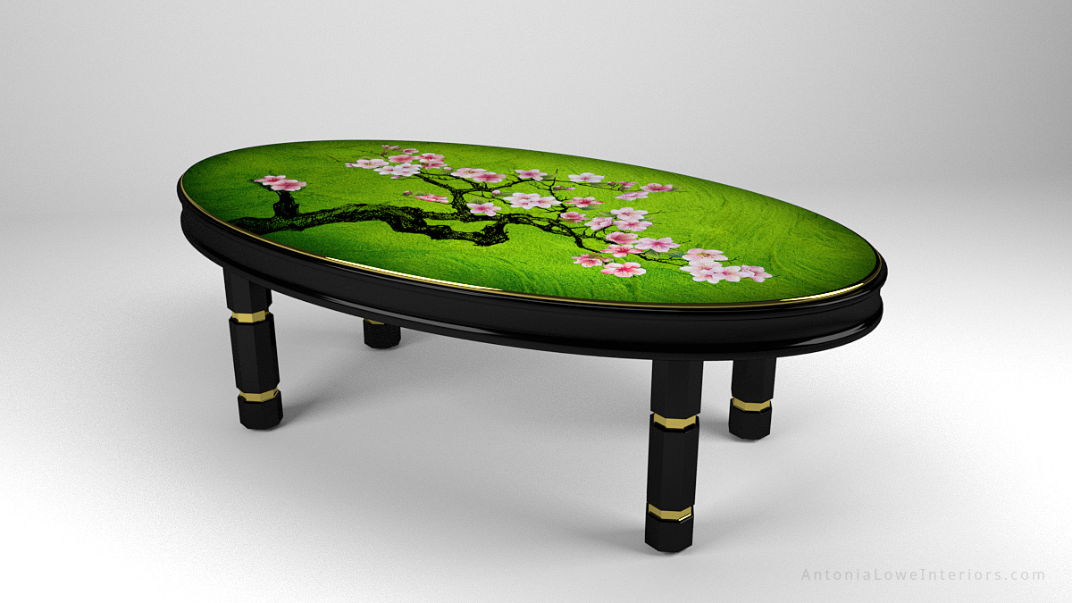 Side View Beautiful Japanese Feature Tables Banquet Table, black lacquered cherry wood frame with gold trim and hand painted cherry blossoms painted on high gloss green lacquered table top.