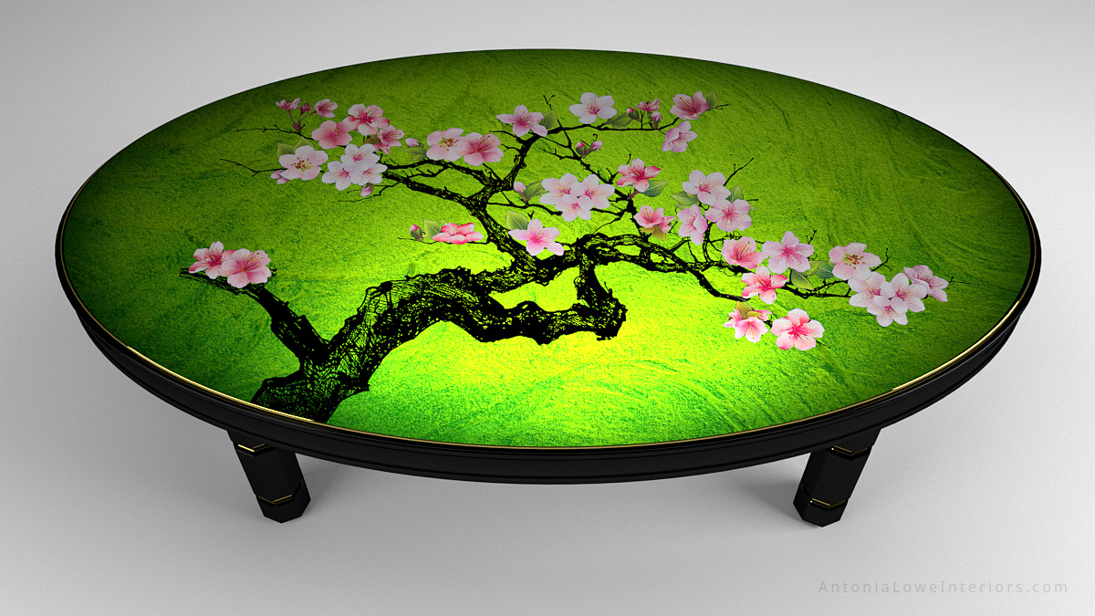 Top View Beautiful Japanese Feature Tables Banquet Table, black lacquered cherry wood frame with gold trim and hand painted cherry blossoms painted on high gloss green lacquered table top.