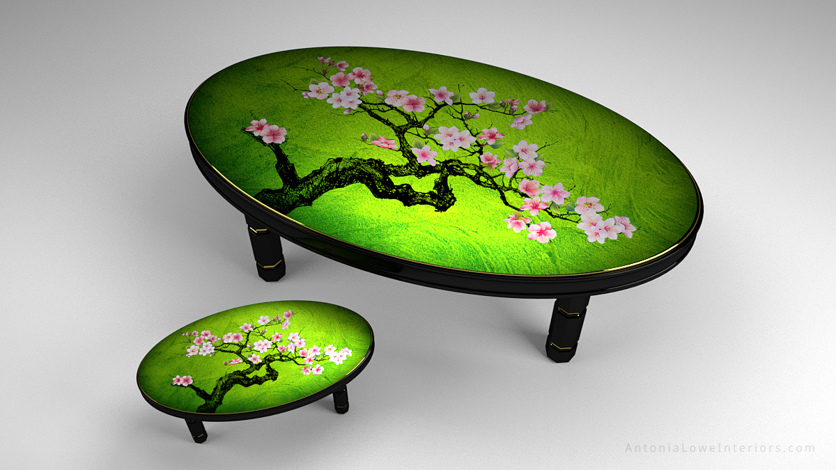 Top View Beautiful Japanese Feature Tables Banquet Table and Coffee Table, black lacquered cherry wood frame with gold trim and hand painted cherry blossoms painted on high gloss green lacquered table top.