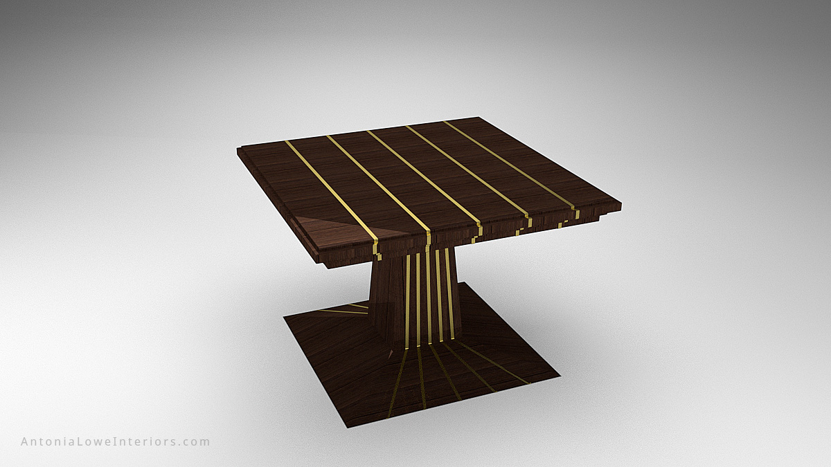 Stylish Metal Stripped Table - dark wood table with shiny gold strips across the top and flowing down from the central support and onto the base