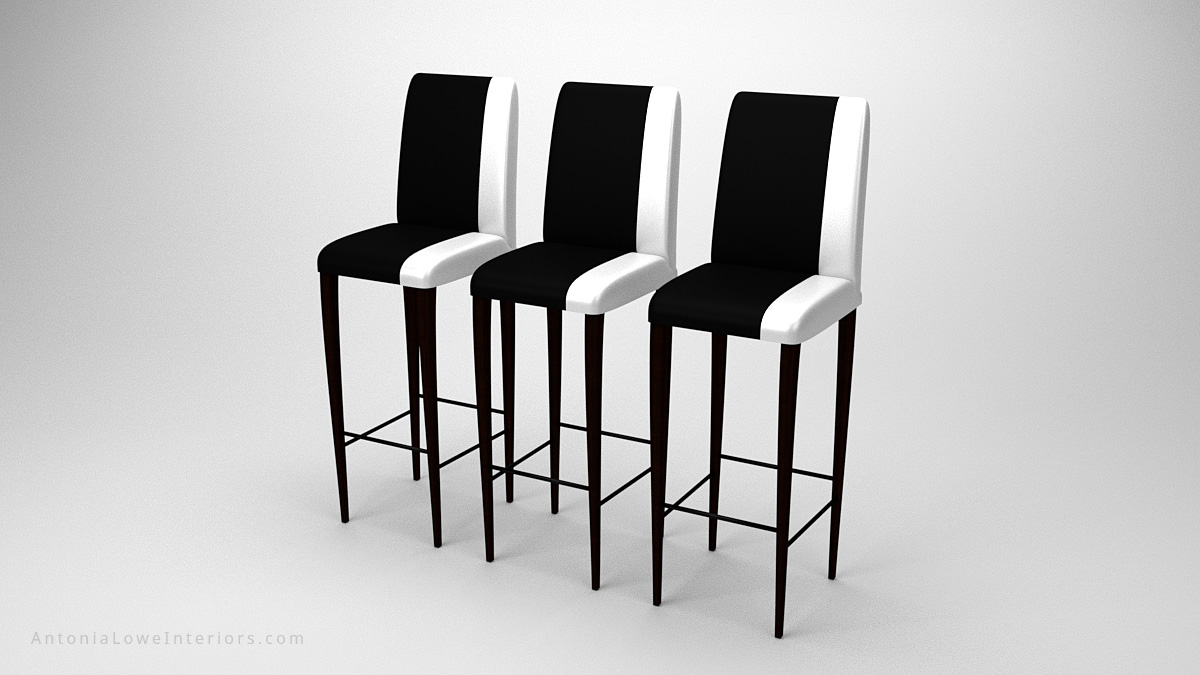Contemporary Stylish Contrast Bar Stools black with a white strip down one side on the upholstery seat and back on dark wood legs