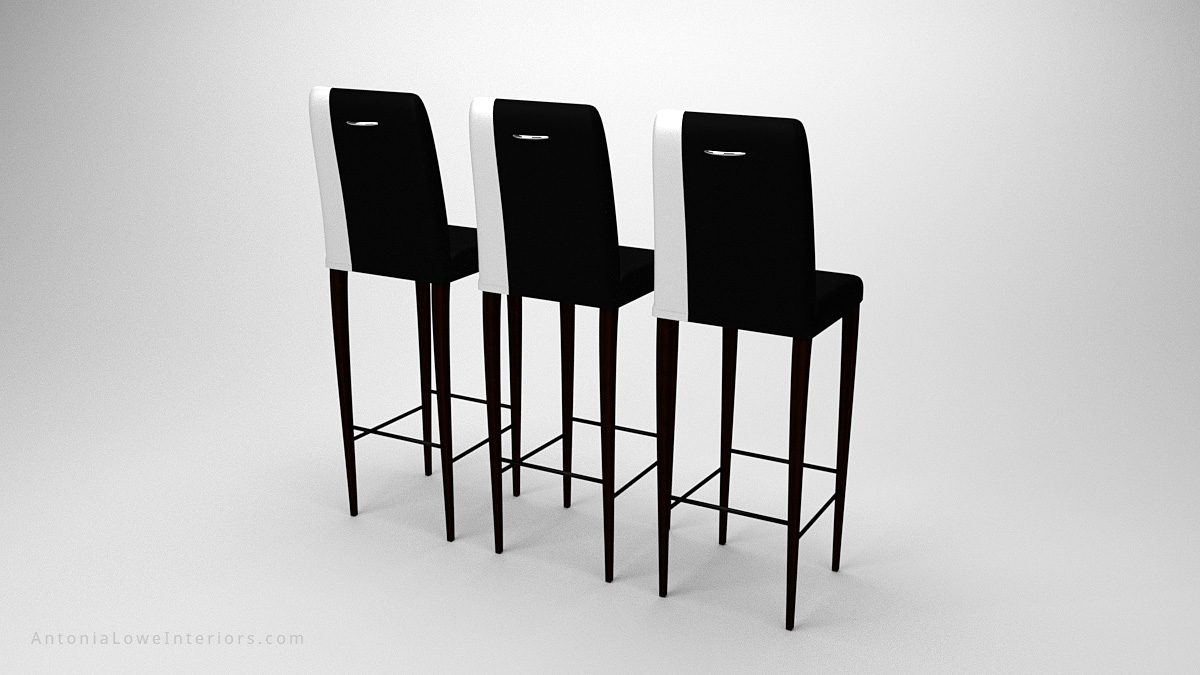 Back view Contemporary Stylish Contrast Bar Stools black with a white strip down one side on the upholstery seat and back on dark wood legs