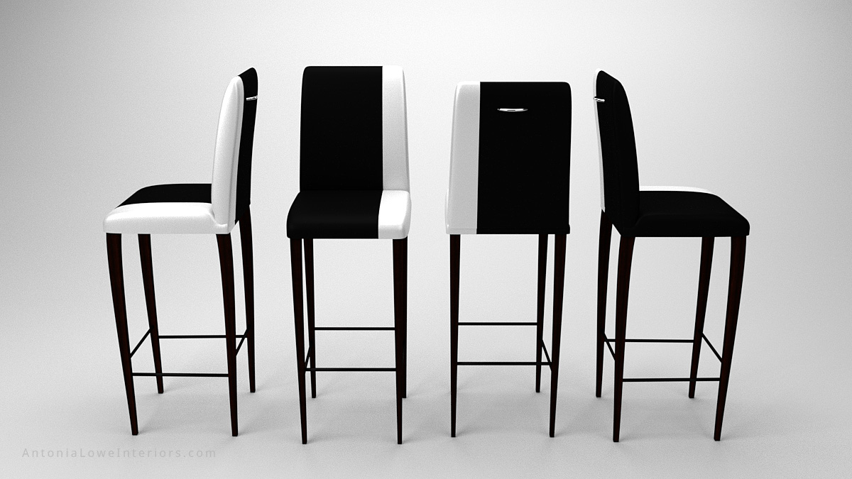 Views from all angles Contemporary Stylish Contrast Bar Stools black with a white strip down one side on the upholstery seat and back on dark wood legs
