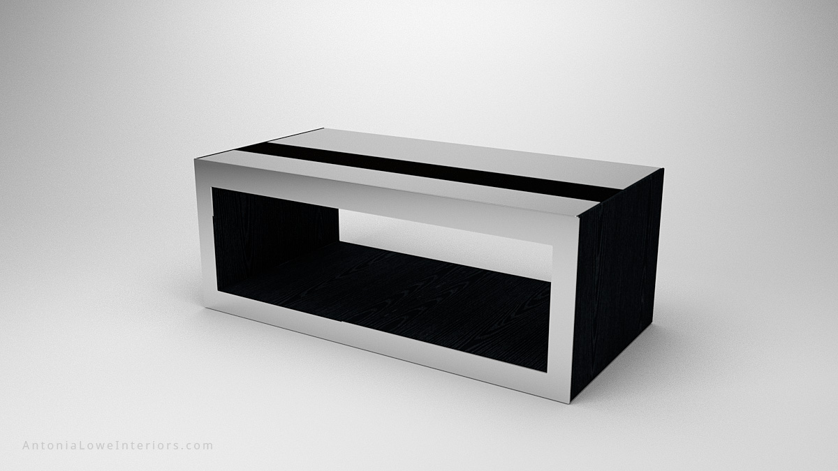 Modern Mirrored Box Coffee Table