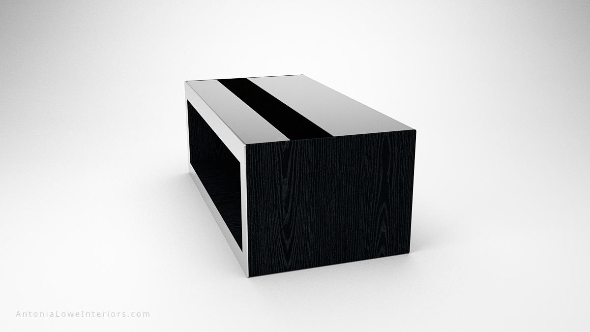 Side view Modern Mirrored Box Coffee Table