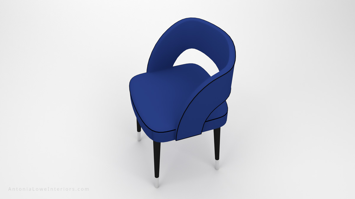 Top View Beautiful Curve Back Dining Chair Blue Leather with Black piping on chair, hole in back support, pinpoint black legs with white tips