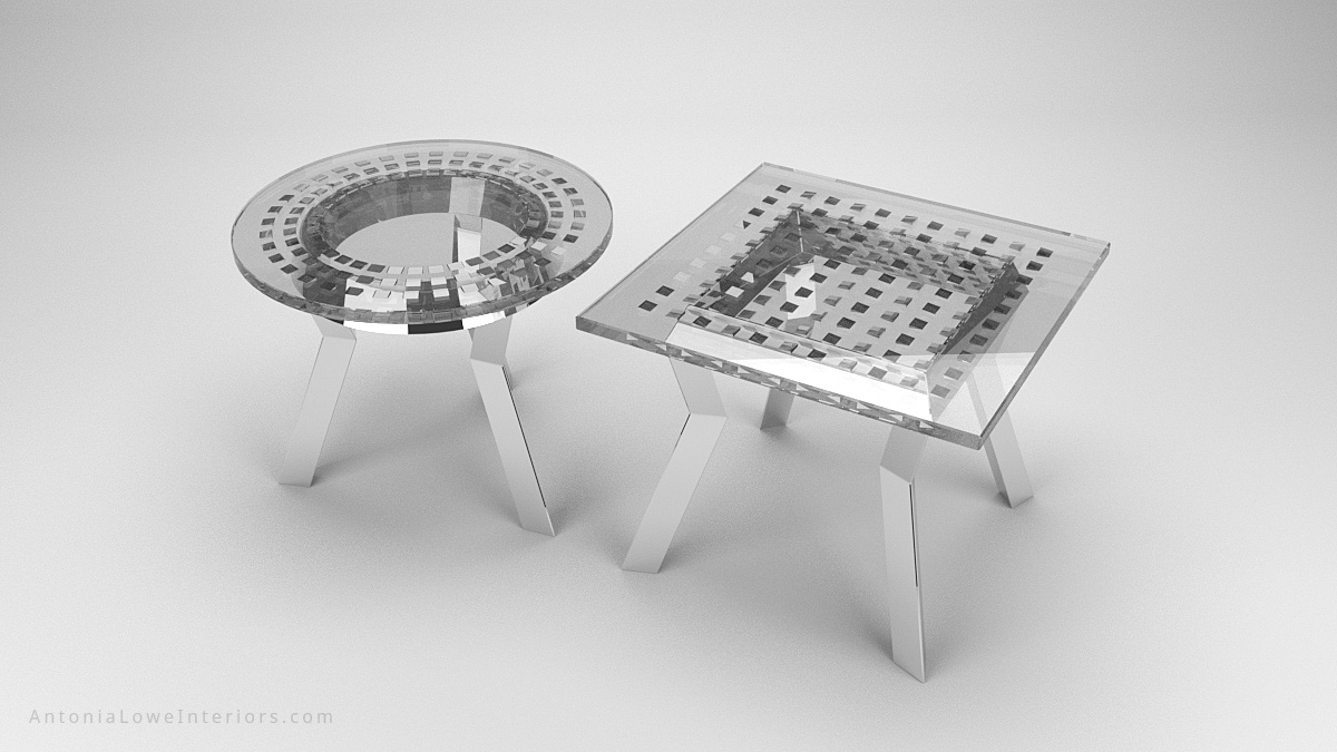 Round and Square Silver Metallic Wedge Encapsulated Cafe Tables with silver chromed legs with a gsilver tinted resin top with chromed silver wedges encapsulated inside and completely reflective.