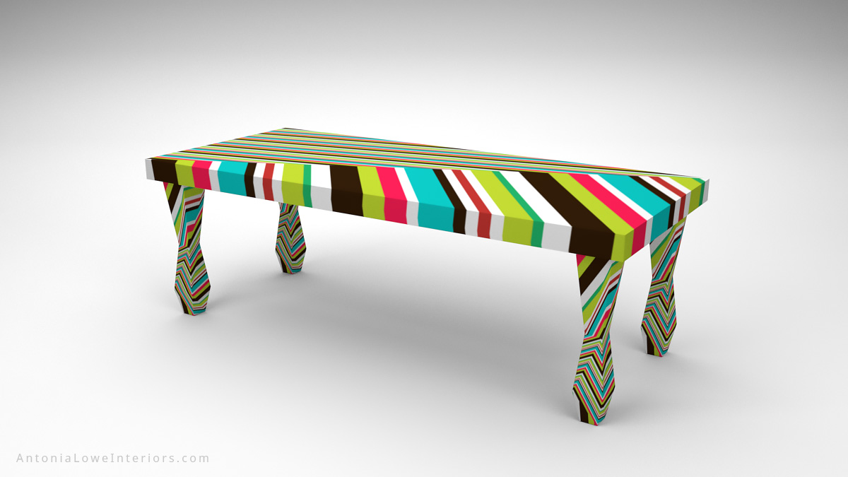 Vibrant Funky Fashion Designers Table with a very bright vibrant multicoloured stripe pattern in all directions.