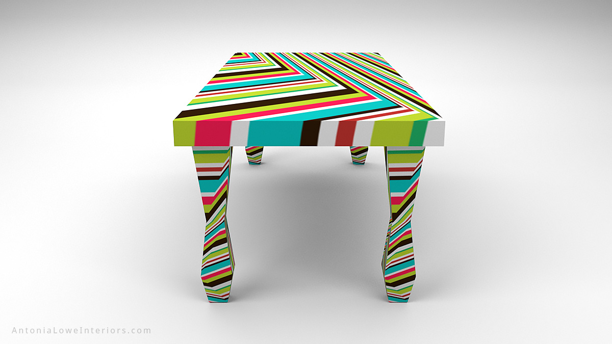 End View Vibrant Funky Fashion Designers Table with a very bright vibrant multicoloured stripe pattern in all directions.