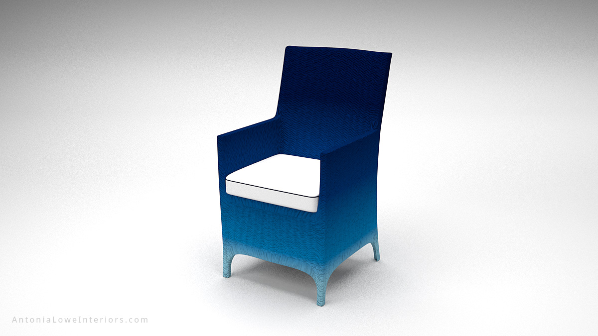 Glamorous Ombre Dark Gradient Chairs dark to light blue wicker chairs with white seat cushion