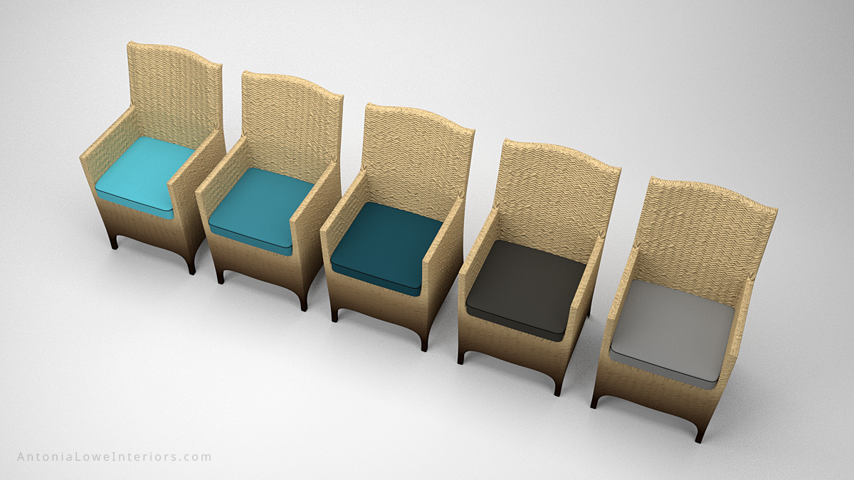 Glamorous Ombre Light Gradient Chairs dark to light neutral wicker chairs with teal and grey seat cushions in different shades.