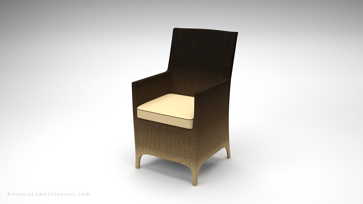 Glamorous Ombre Light Gradient Chairs dark to light neutral wicker chairs with neutral seat cushions.
