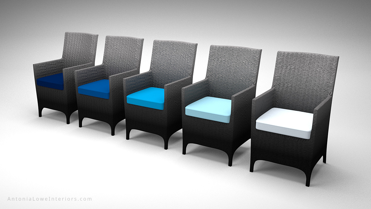Glamorous Ombre Dark Gradient Chairs dark to light grey wicker chairs with teal seat cushions in different shades.