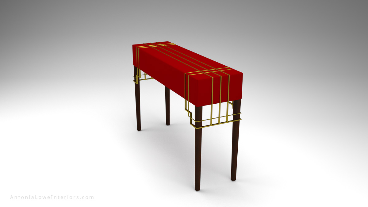 Stunning Red Hallway Table With A Modern Art Deco Touch - beautiful deep crimson red top with elegant gold art deco strip detailing on top and around corners.