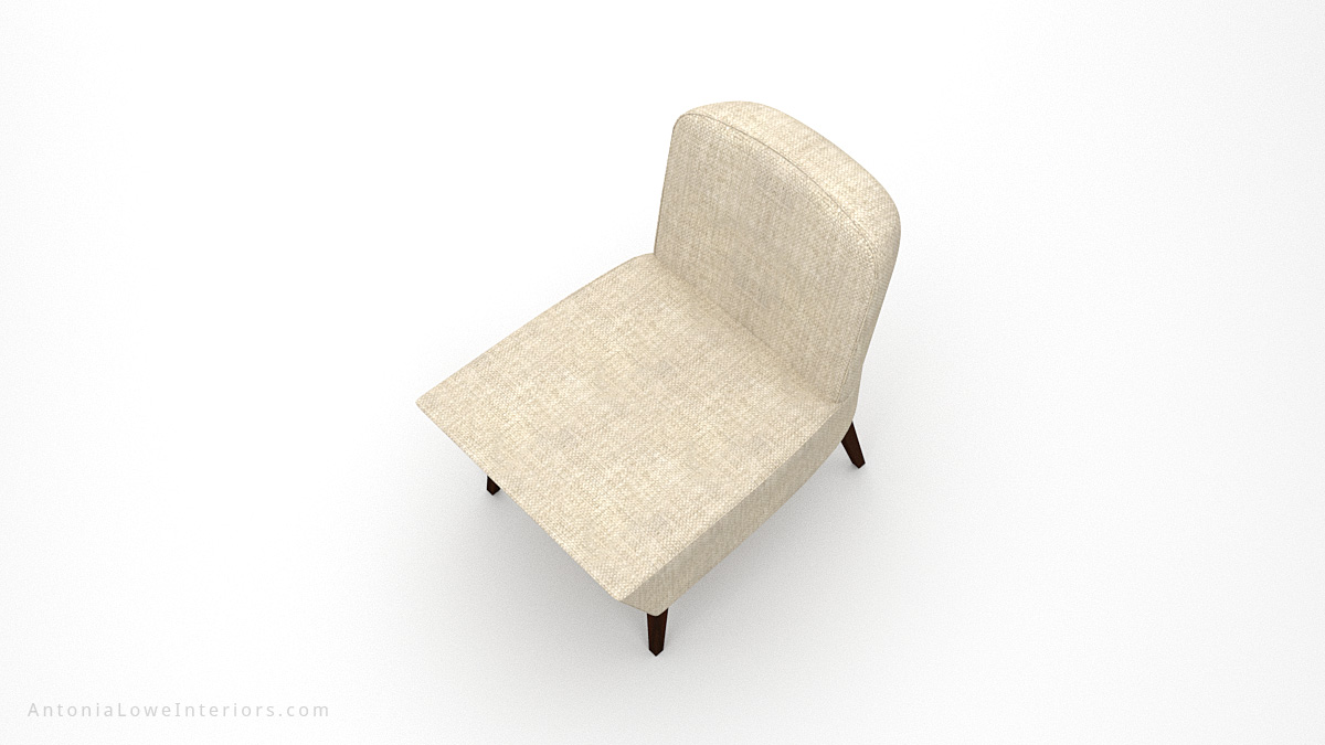 Top view Timeless Low Wedge Chair neutral linen cream colour fabric low level chair with wooden legs.